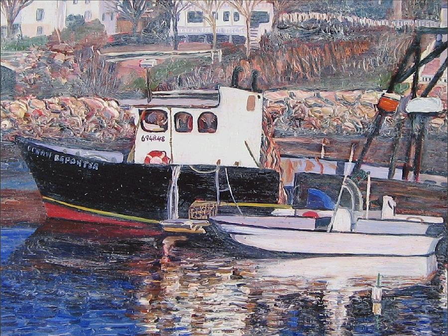 Boat Painting - Black Boat Reflections by Richard Nowak