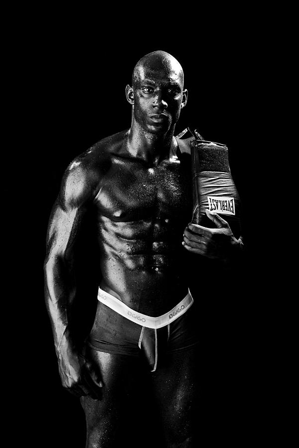 Boxer Photograph - Black Boxer In Black And White 01 by Val Black Russian Tourchin