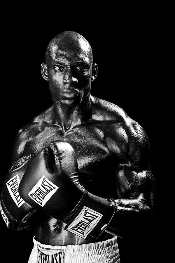 Boxer Photograph - Black Boxer In Black And White 05 by Val Black Russian Tourchin