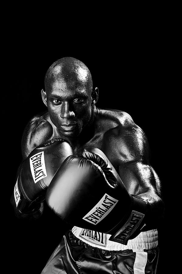 Boxer Photograph - Black Boxer In Black And White 06 by Val Black Russian Tourchin