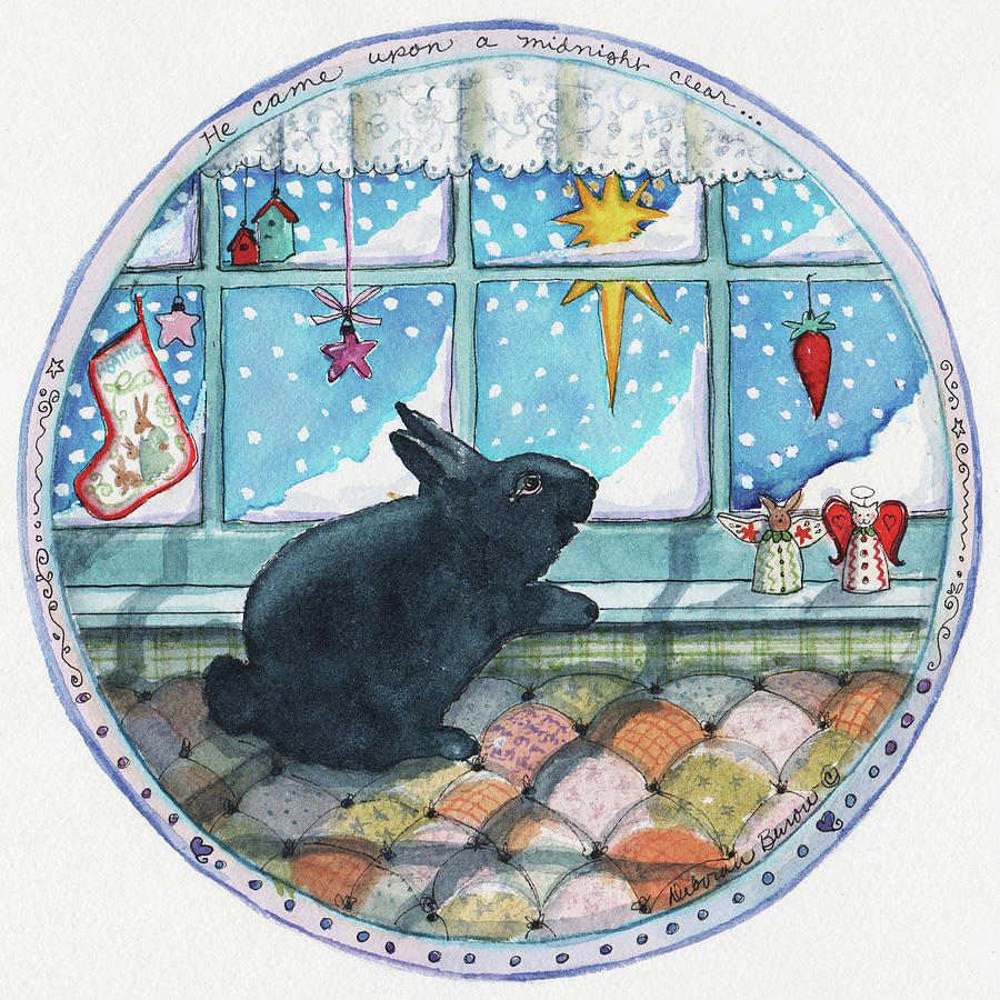 Christmas Painting - Black Bunny by Deborah Burow