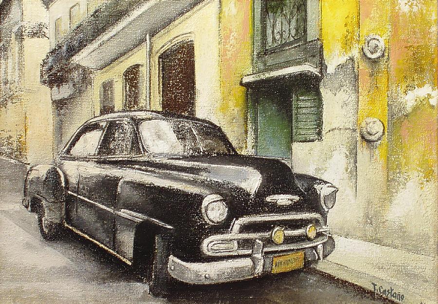 Car Painting - Black cadillac by Tomas Castano