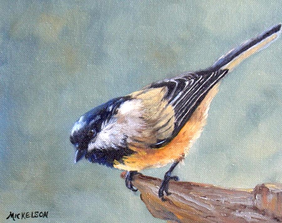 Chickadee Painting - Black Capped Chickadee by Debra Mickelson