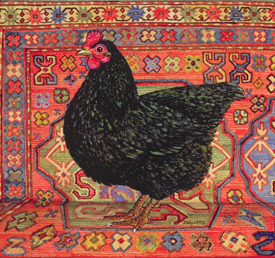 Pattern Painting - Black Carpet Chicken by Ditz