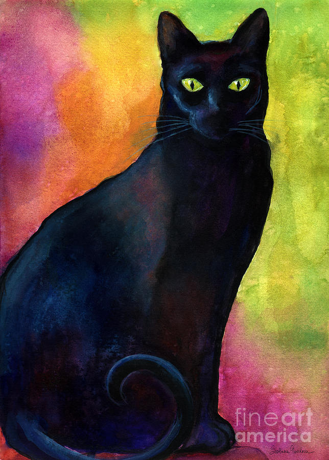 Black cat 9 watercolor painting by Svetlana Novikova