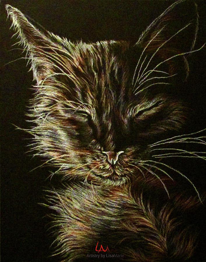 Black Cat Drawing - Black Cat Drawing by Lisa Marie Szkolnik
