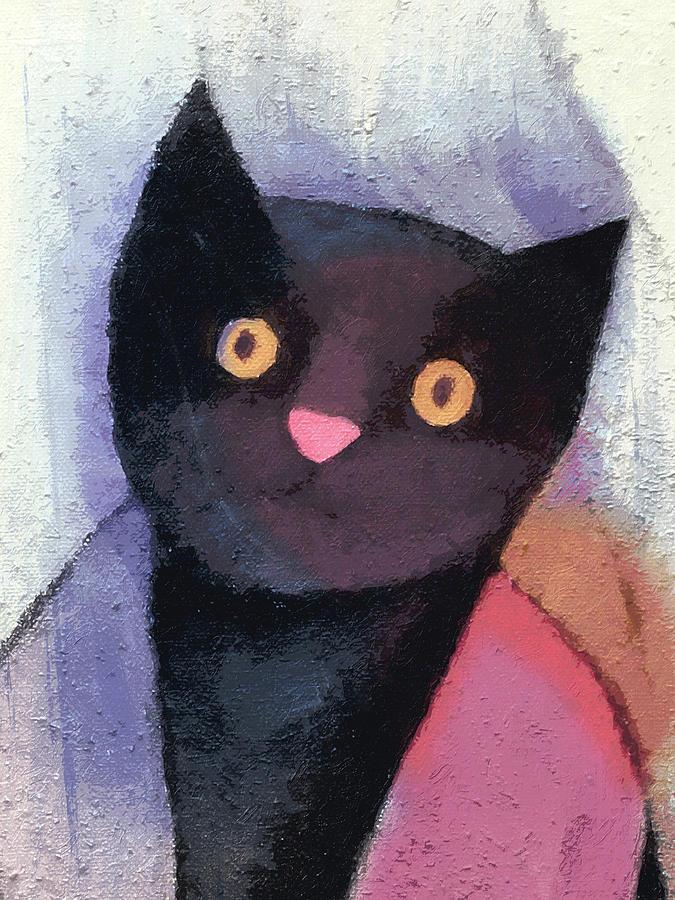 Cats Painting - Black Cat by Lutz Baar