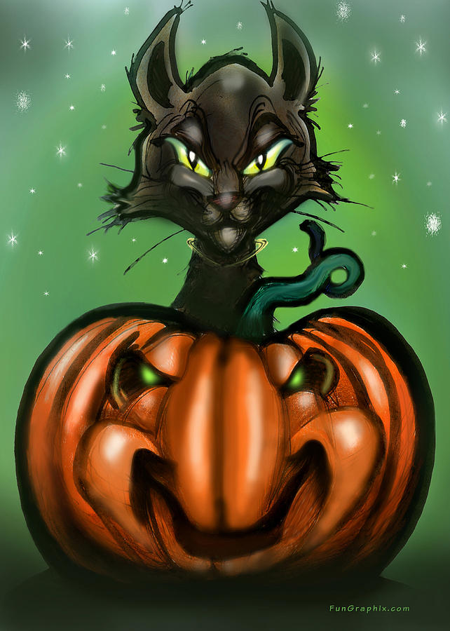 Halloween Greeting Card - Black Cat N Pumpkin by Kevin Middleton