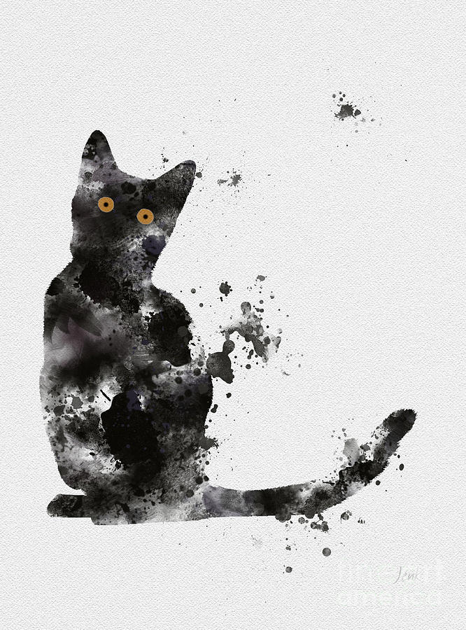 Cat Mixed Media - Black Cat by My Inspiration