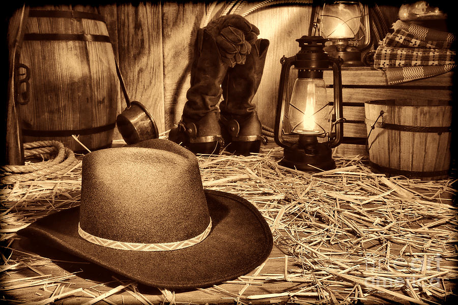 Black Cowboy Hat in an Old Barn by American West Legend By Olivier Le Queinec