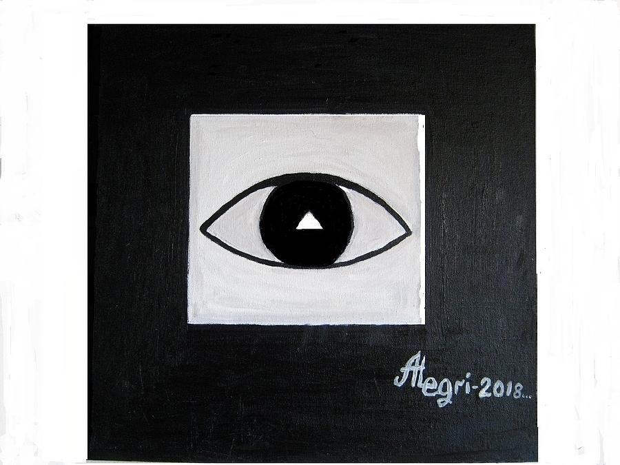 Black Eye In The Black Square Painting by Alexey Grishankov