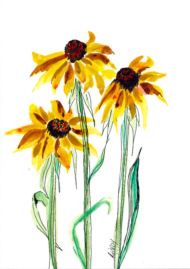 Flowers Painting - Black-eyed Susans by Linda Palmer