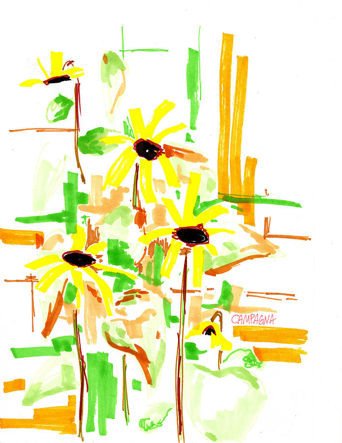 Blue Drawing - Black Eyed Susans by Teddy Campagna