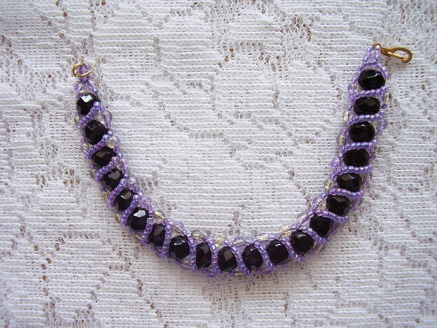 Jewelry Jewelry - Black Faceted Crystals With Violet Bracelet by Yvette Pichette