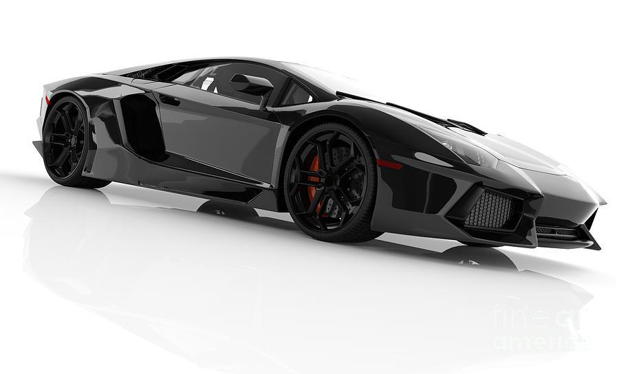 Black Fast Sports Car On White Background Studio Photograph
