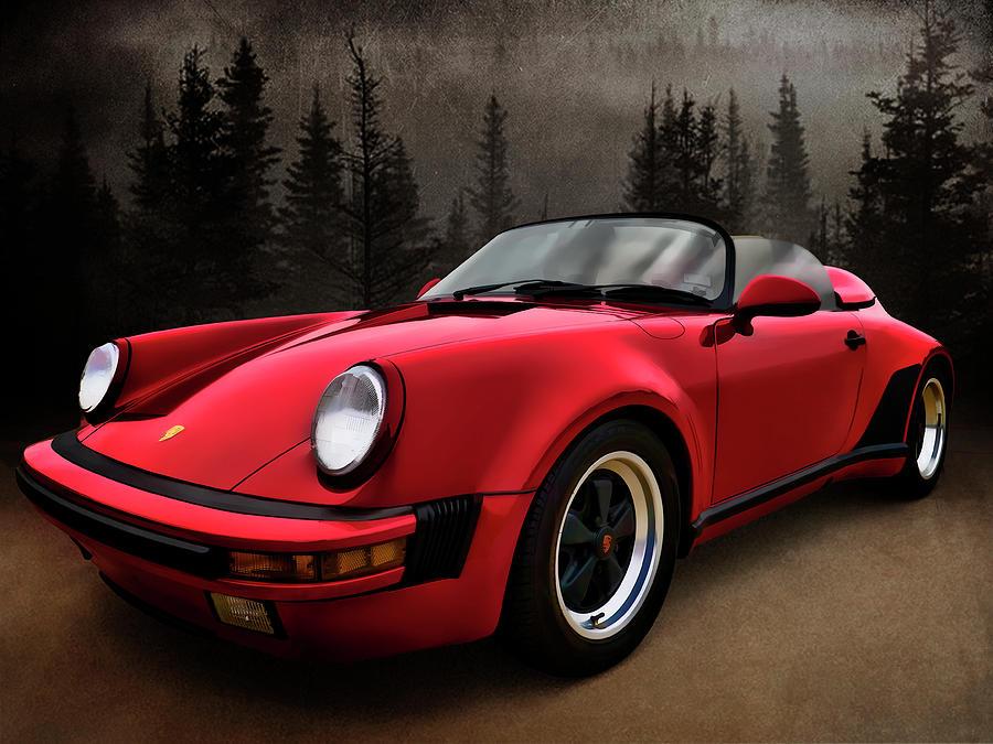 German Digital Art - Black Forest - Red Speedster by Douglas Pittman