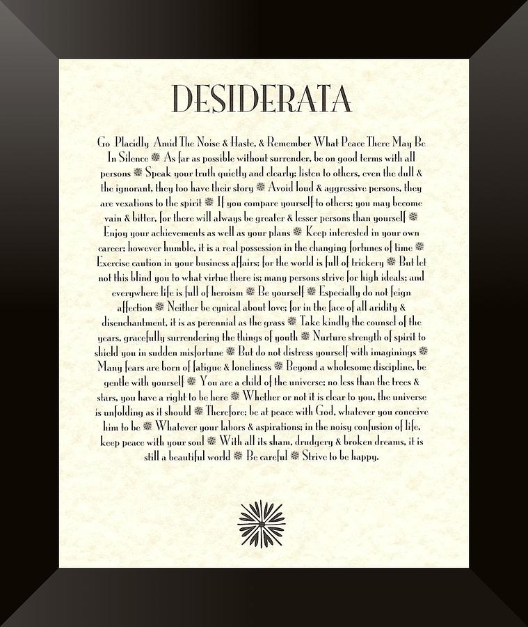 Desiderata Mixed Media - Black Border Sunburst DESIDERATA Poem by Desiderata Gallery