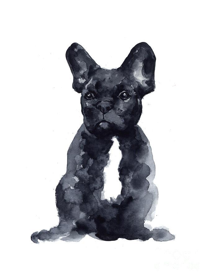 French Bulldog Painting - Black French Bulldog Watercolor Poster by Joanna Szmerdt