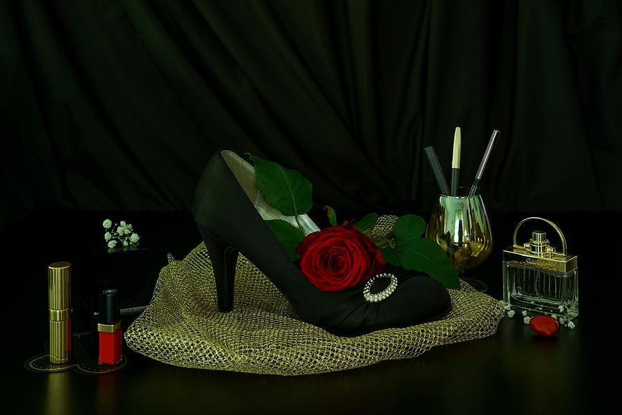 Black Photograph - Black, Gold, And Shoe by Carlene Smith