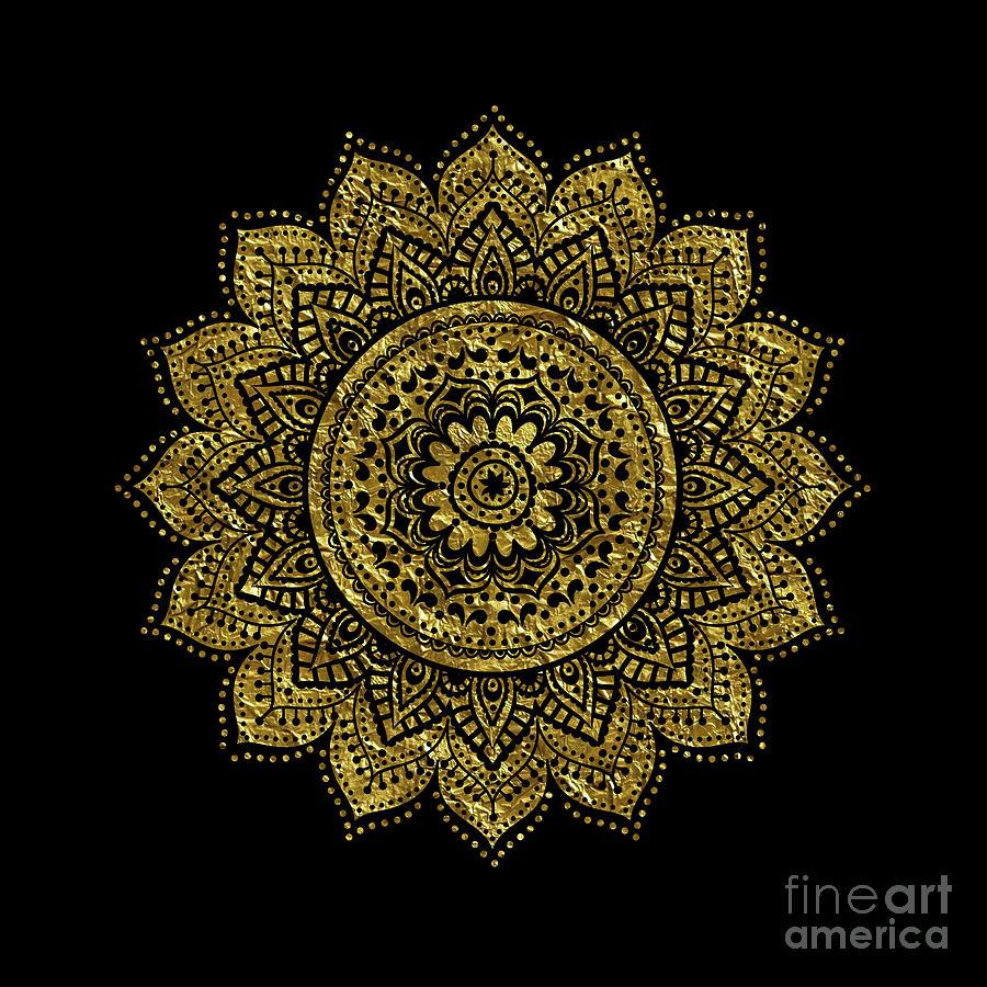 Black Gold Mandala Digital Art By Haris Kavalla