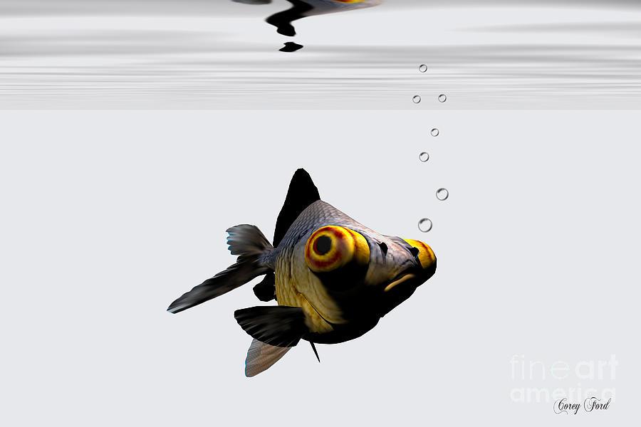 Goldfish Painting - Black Goldfish by Corey Ford