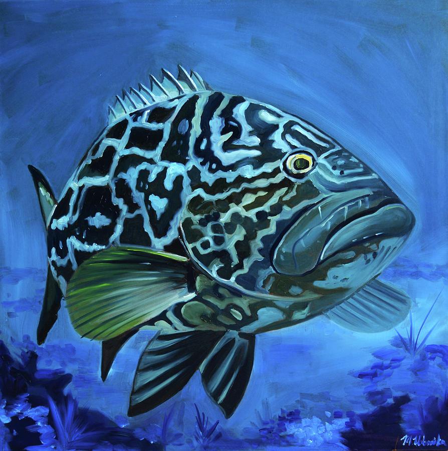 Grouper Painting - Black Grouper by Monika Urbanska