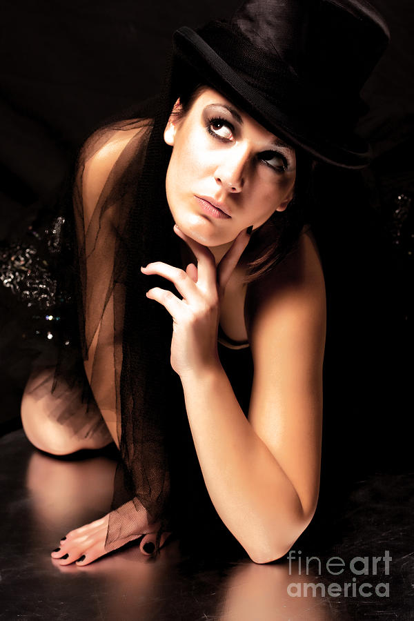 Girl Photograph - Black Hat by Stevan Biber