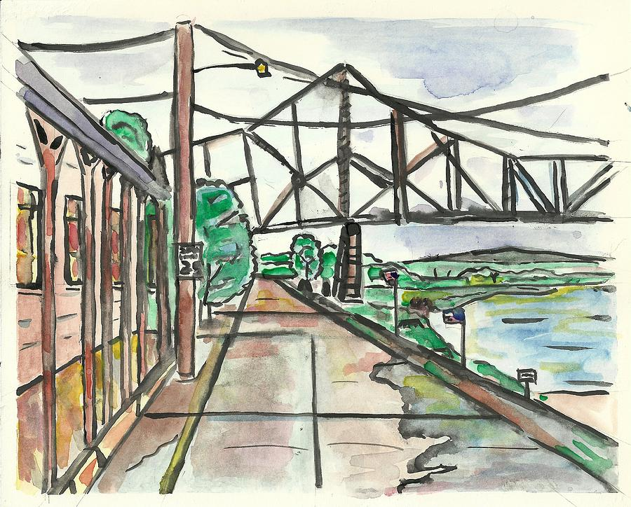 Iowa Painting - Black Hawk Bridge by Matt Gaudian
