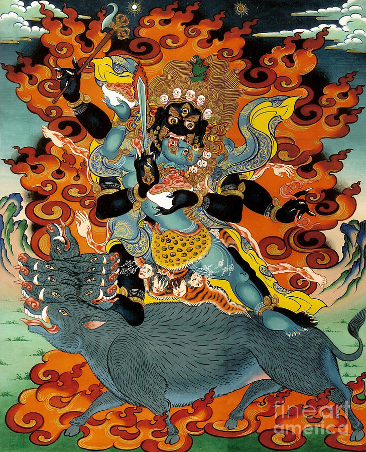 Thangka Painting - Black Hayagriva by Sergey Noskov
