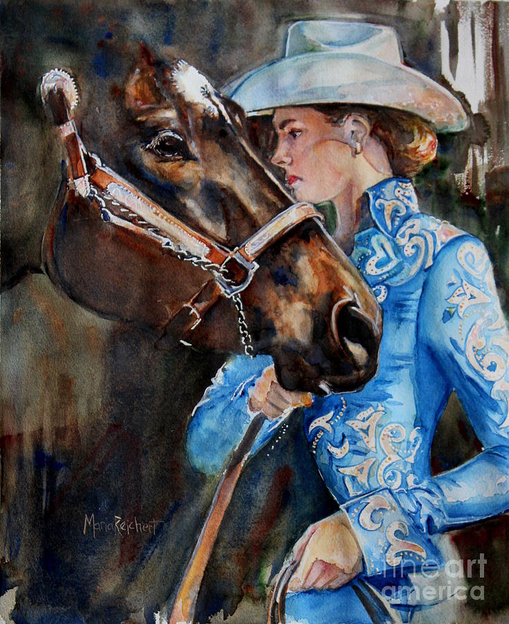Horse Watercolor Painting - Black Horse And Cowgirl   by Marias Watercolor