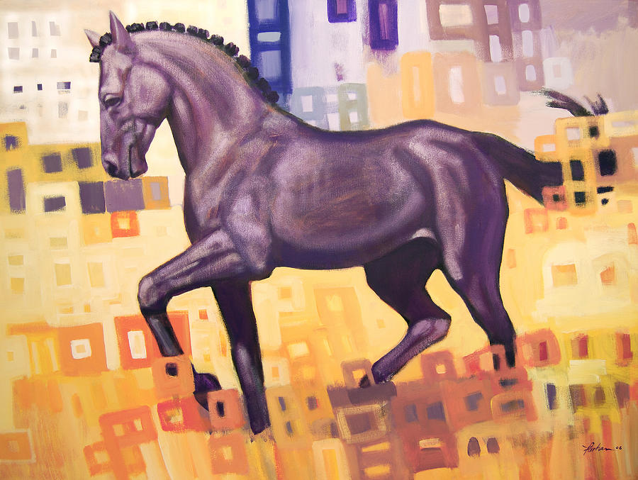 Horse Painting - Black Horse by Farhan Abouassali