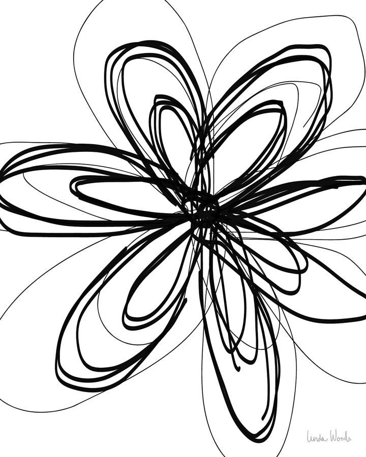 Flowers Drawing - Black Ink Flower 1- Art By Linda Woods by Linda Woods
