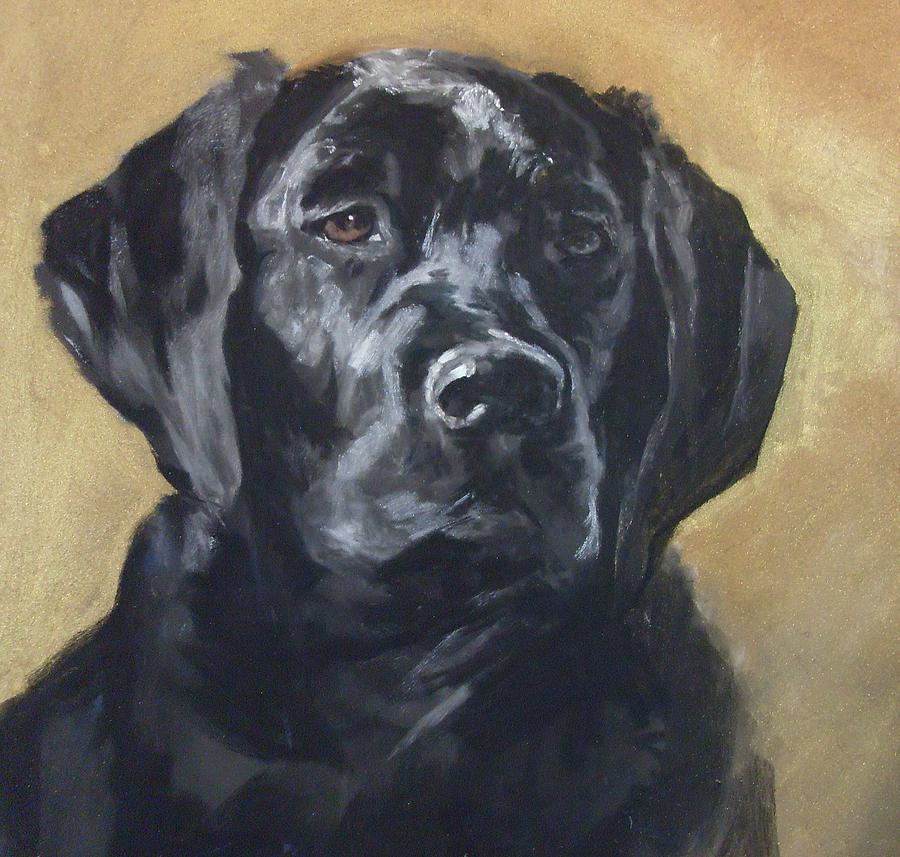 Labrador Painting - Black Lab by Debbie Anderson