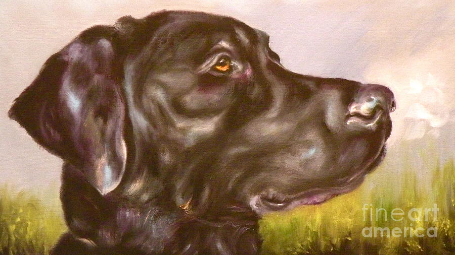 Lab Painting - Black Lab In The Field by Susan A Becker