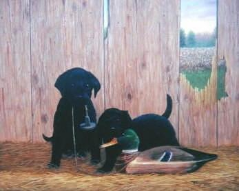 Pet Painting - Black Lab Puppies At Play by Jerrie Glasper