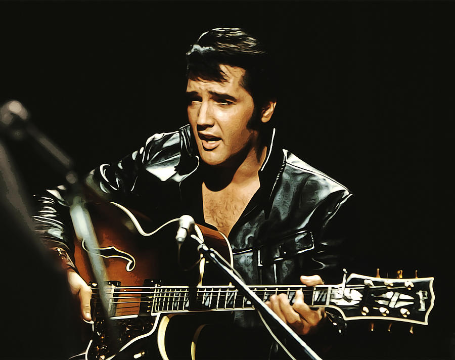 Music Painting - Black Leathers Elvis with Guitar by Elaine Plesser