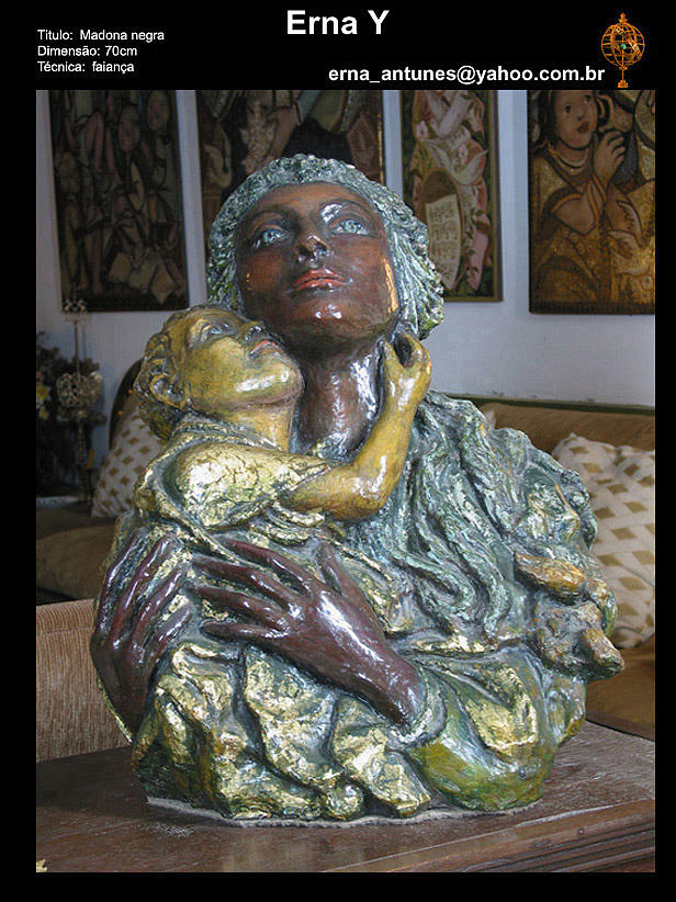 Black Madonna Sculpture by Erna Y