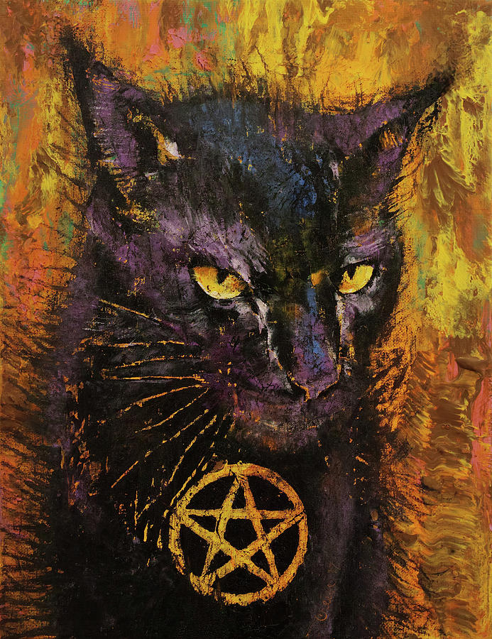 Cat Painting - Black Magic by Michael Creese