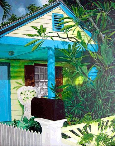 Landscape Painting - Black Mailbox by Carlos Alvarez