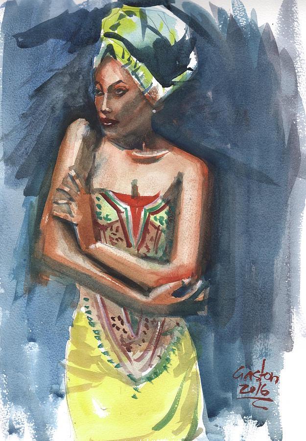 Woman Painting - Black On Blue by Gaston McKenzie