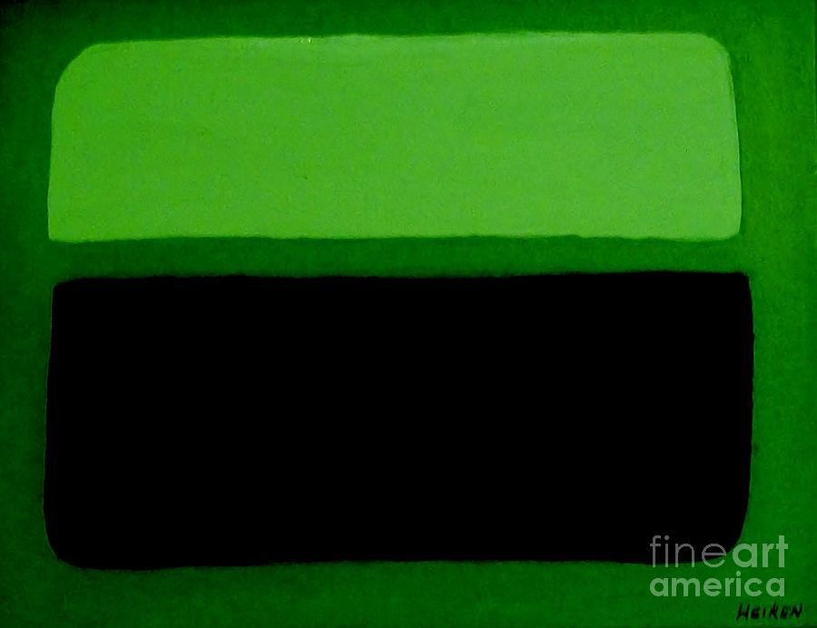 Histogram Painting - Black on Dark Green and Medium Green by Marsha Heiken