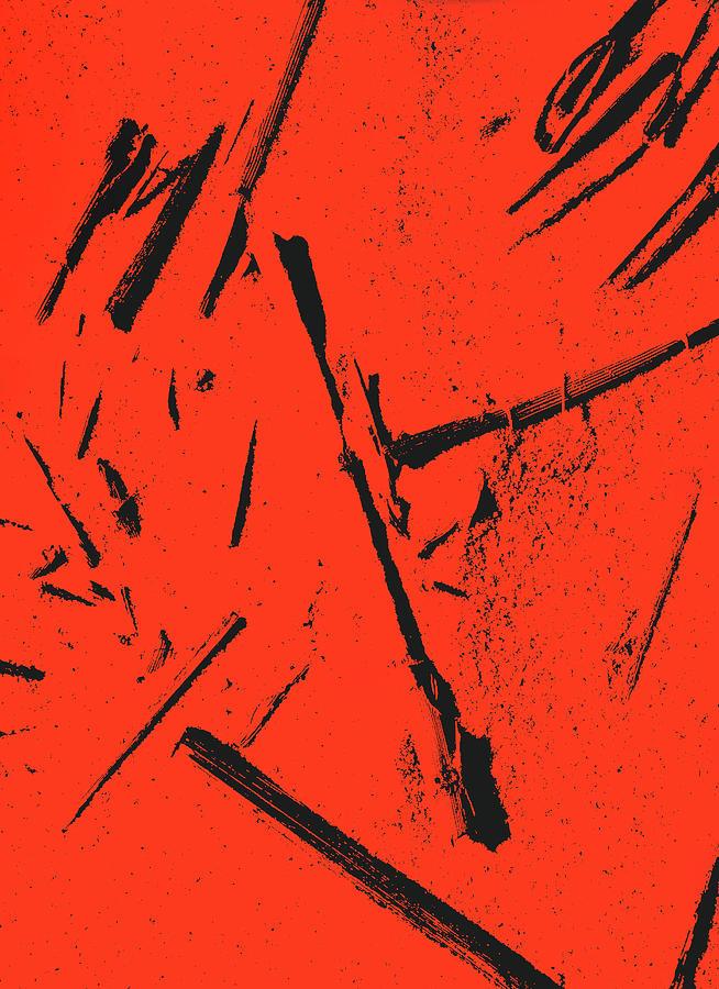Black On Red Digital Art by Iris Posner