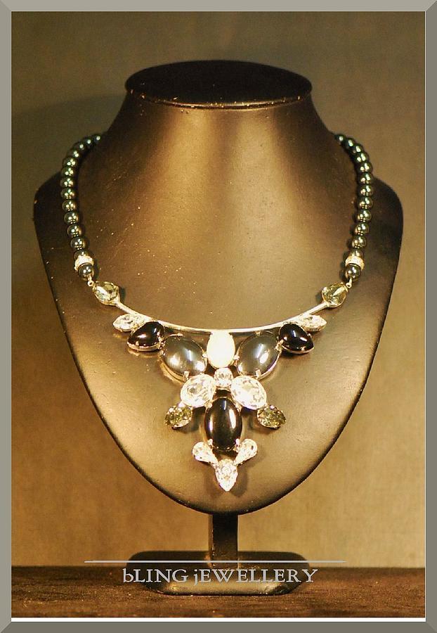 Black Onyx Necklace Jewelry - Black Onyx And Hematite Necklace by Janine Antulov