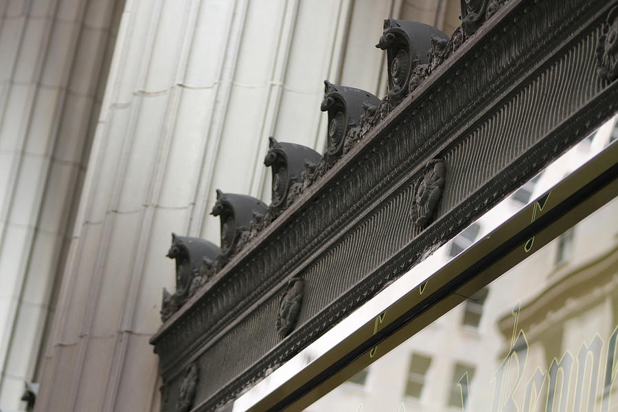 Black And White Photograph - Black Ornate Trim On Marble White Building by Colleen Cornelius