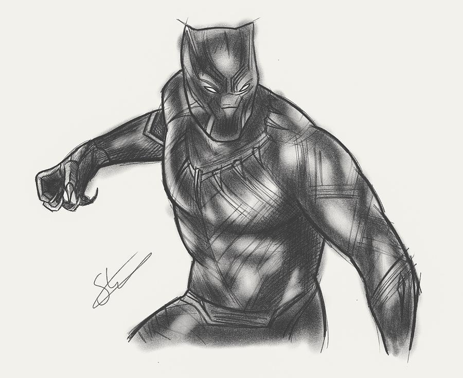 Black Panther Civil War Digital Art By Scott Strachan
