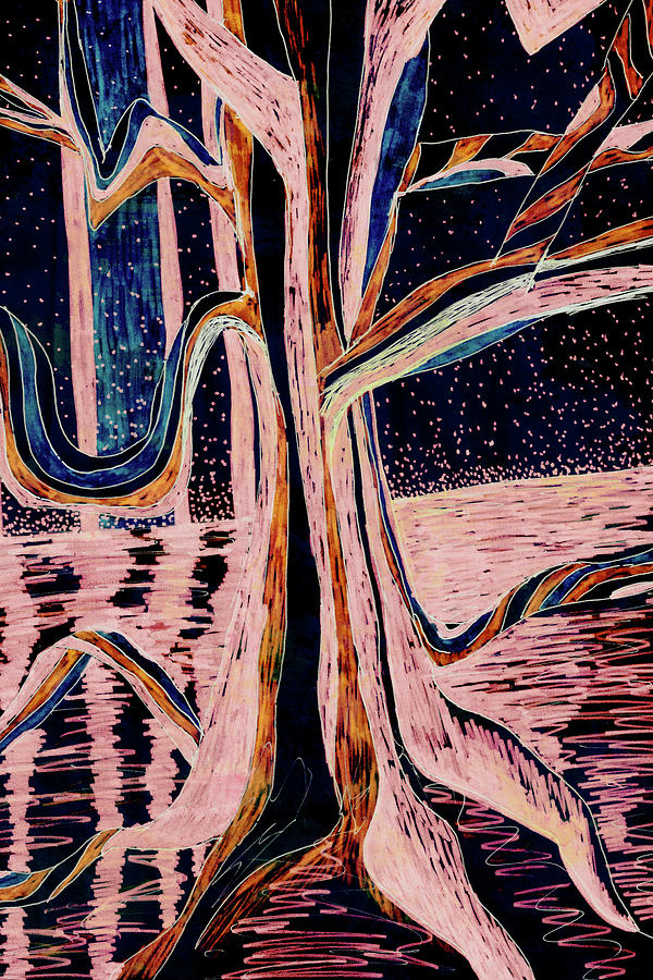Black-Peach Moonlight River Tree by Gecko Joy