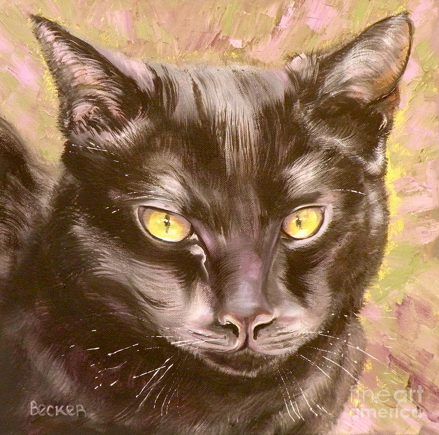 Cat Painting - Black Pearl by Susan A Becker