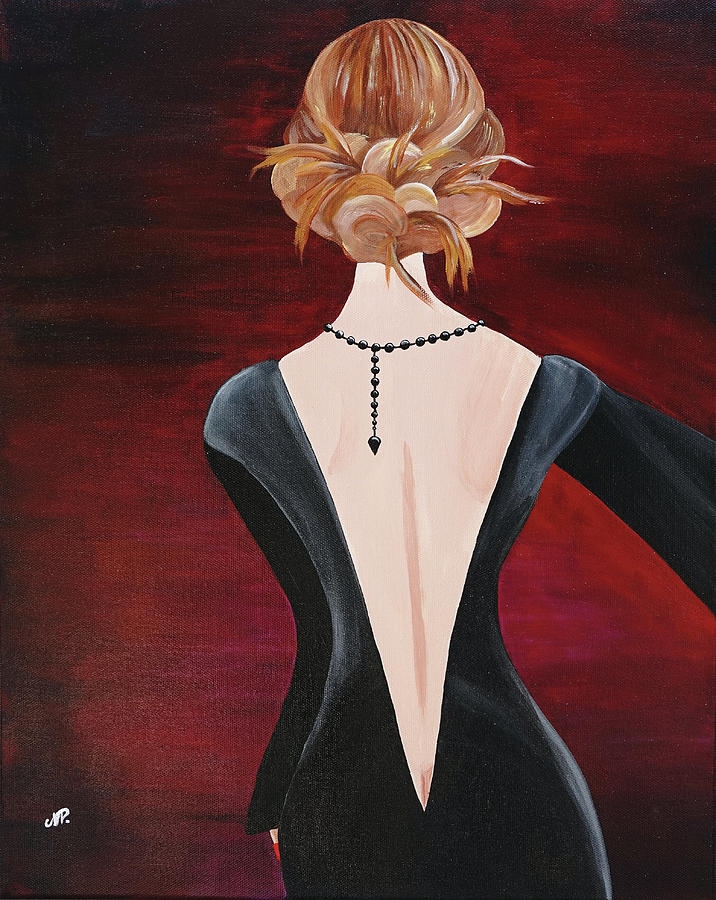 Portrait Painting - Black Pearls by Nicole Paquette