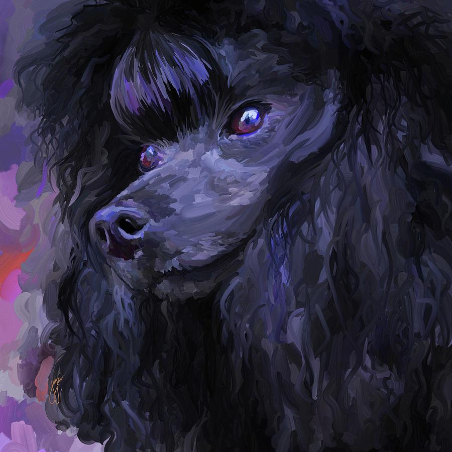 Black Poodle Square Painting By Jai Johnson