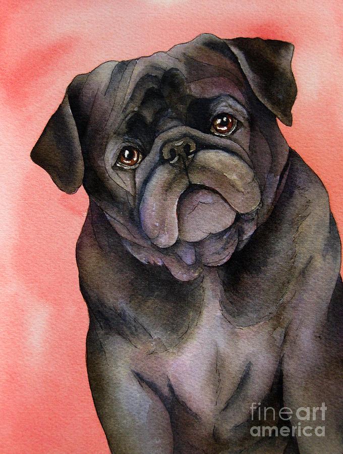 Watercolor Painting - Black Pug by Cherilynn Wood